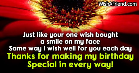 Just like your one wish bought a smile on my face