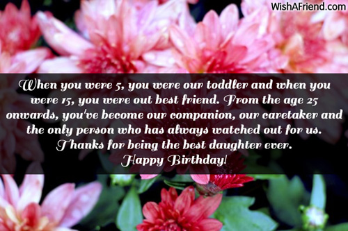 Birthday Quotes For A Friend Miles Away : Daughter birthday messages