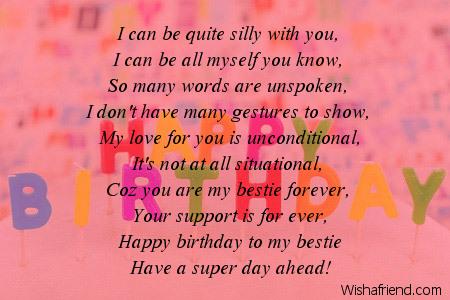 Happy birthday bestie poems