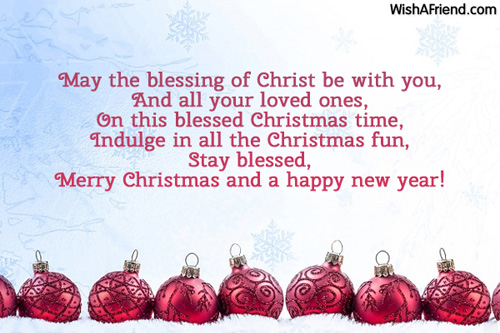 May the blessing of Christ be, Merry Christmas Message