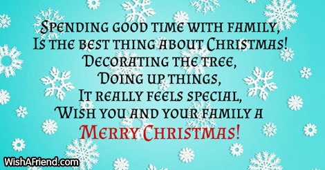 Spending good time with family is the christmas message for family