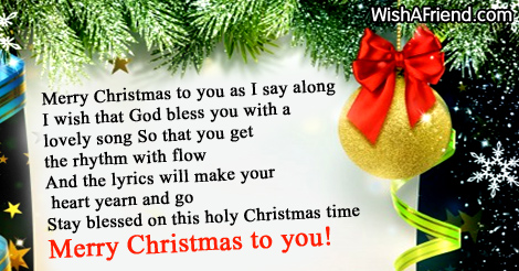 Merry Christmas to you as I, Christmas Blessings