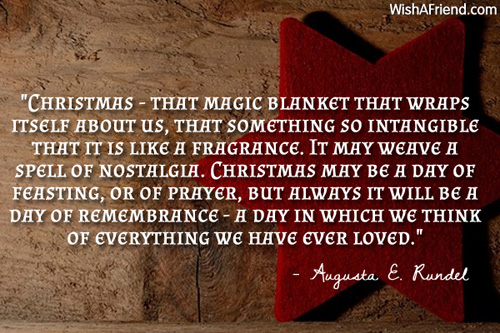 Christmas Quotes About Family: That Magic Blanket That, Christmas Quote For