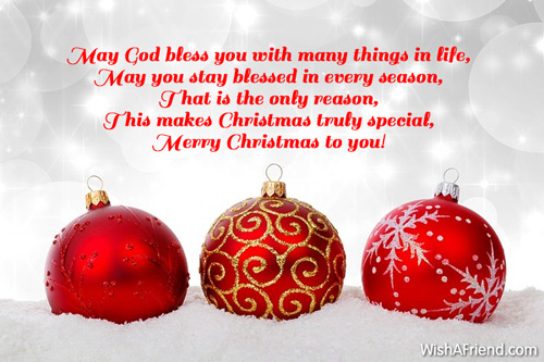 May God Bless You With Many, Religious Christmas Saying