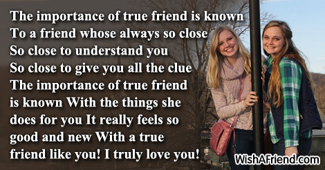 the importance of a true friend essay Below is an essay on the importance of balanced diet from anti essays, your source for research papers,  the world is gloomy in the absence of a true friend.