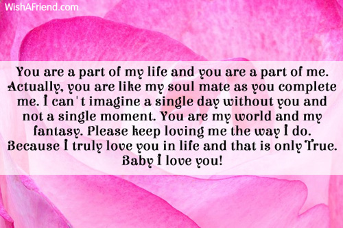 part of my life love letters for her