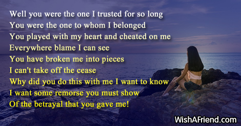 Betrayal in friendship poems