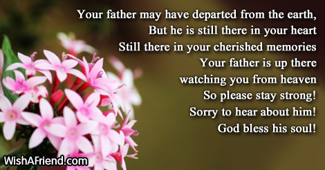 your father may have departed from sympathy message for loss of father