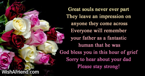 great souls never ever part they sympathy message for