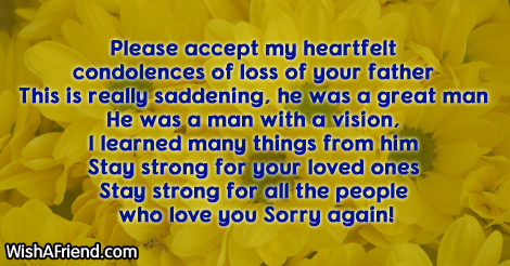 please accept my heartfelt condolences of sympathy message for loss of father