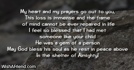 My Heart And My Prayers Go Sympathy Message For Loss Of Child