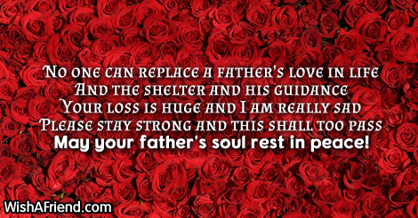 no one can replace a father 39 s sympathy message for loss of father