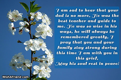 i am sad to hear sympathy message for loss of father