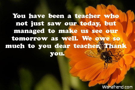Thank You Notes For Teacher Thank You Message For Teachers From Students